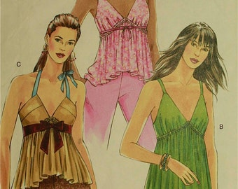 Top, Halter Option - 2000's - Vogue Pattern 8155  Uncut  Sizes  6-8-10  Bust  30.5-31.5-32.5""