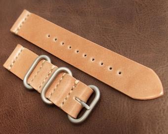 22mm Handmade Nato Zulu 2 Piece Natural Tan Shell Cordovan Leather Watch Strap for Panerai, Seiko, Pilot, etc