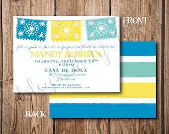 Doppelseitige Papel Picado Fiesta Einladung