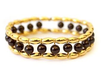 Ladder Bracelet, Brown and Gold, Gold Bracelet, Gold Jewelry, Swarovski Pearls, Stretch Bracelet