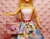 MyDollOutfits Clothes - Pink Honey Bee Dress, Purse, Necklace, Belt and High Heel Shoes. CHOOSE: Dress only or Dress with accessories.