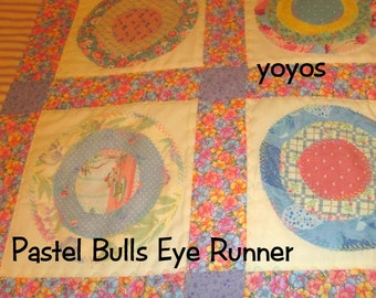 PASTEL BULLSEYE Table RUNNER Patchwork Home Table Décor Wall Spring Summer Banner