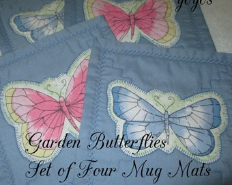 MUG MATS BUTTERFLIES in Pink and Blue Home Décor Gift  Set of Four