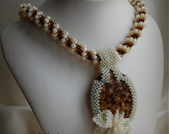 SALE! 10% OFF! Beige/Brown Statement Beadwoven Pendant Necklace, Women's Beaded High Fashion Jewelry, Beadwork Accessory, Gift for Her, OOAK