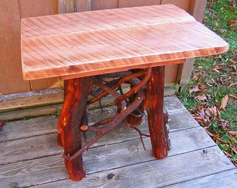 Rustic Handmade End Table Log Cabin Adirondack Furniture by J. Wade, cherry