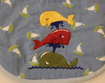Sail Boat Stacked Whale Baby Bib
