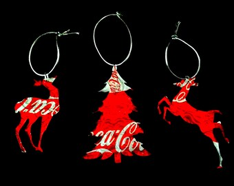 Recycled Coca-Cola Soda Can 3-Piece Christmas Ornament Set