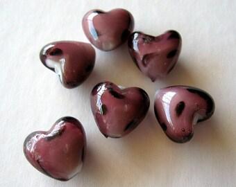 Spotted purple lampwork glass heart beads