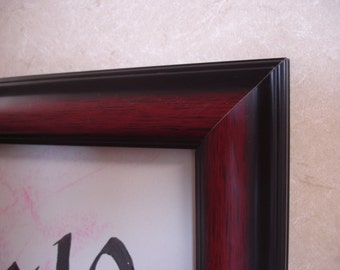 8 x 10 mahogany and black finish wood grain style wood handmade photo frame