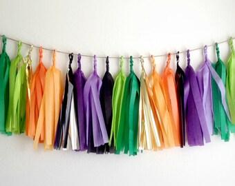 HALLOWEEN - Tissue Paper Tassel Garland  - Party - Wedding - Baby Shower