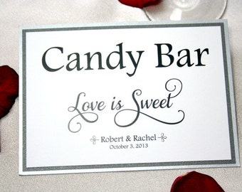 5 X 7 Wedding Candy Bar Sign / Candy Bar Wedding Sign / Love is Sweet