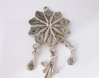 North african filigree pendant in sterling