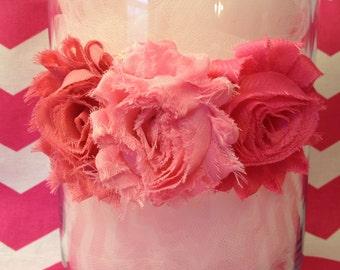 Shabby Rose Headband, Pink Rose Headband, Triple Rose Headband, Baby Headband, Infant Headband, Valentine's Day Headband, Girl's Headband