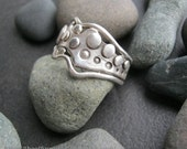 Abstract flowing organic melted fused shaped sterling silver ring  one of a kind, size 10 &1/2