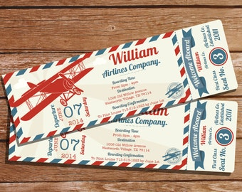 Airplane Ticket Invitation - Boys Airplane Party - Vintage Airplane Invitation - Instant Download - Edit With Adobe Reader