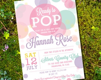 Ready To Pop Baby Shower Invitation in Whites and Pinks - Girl Baby Shower Invitation - Instant Download and Edit with Adobe Reader