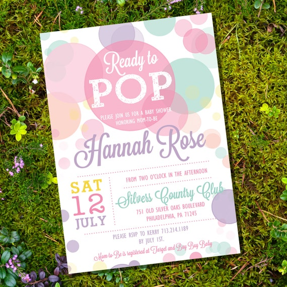 ready to pop baby shower invitation in whites and pinks girl baby