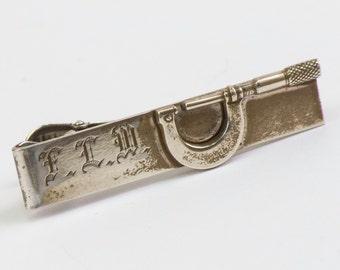Vintage Tie Clip:  Micrometer Screw Gauge Monogrammed F.L.W Tie Bar (Sterling Silver) Hayward 1950s, Winter Formal Wedding For Him, For Dad