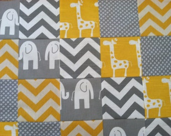 Ready To Complete - Patchwork Baby Blanket - Yellow and Grey Ele/Stretch/Chevron Fabrics...Can be Personalized...Shower Chic