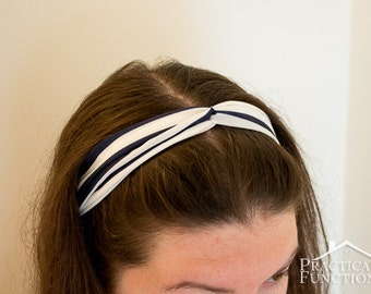 Twist Turban Headband - Navy/white stripes - Crepe chiffon, elastic at back, stretch to fit - Adult and child sizes available