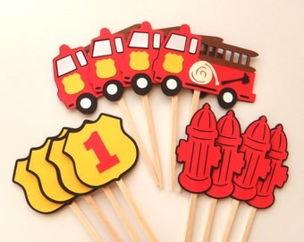 Fire Truck Party Cupcake Toppers  Firetruck Birthday Fire Hydrant Fireman's shield with Number by FeistyFarmersWife