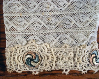 1910s Antique Lace Sleeves With Floral Lace Edging