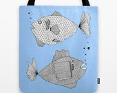 Two Blue Fish Tote Bag / Fish Tote Bag / Blue Tote Bag / Double Sided Tote - Beach Bag, Yoga Bag, Reusable Grocery Tote