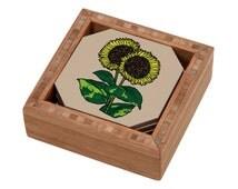 Sunflower Coaster Set, Flowers Drink Coasters, Bamboo Coasters, Bamboo Decor, Summer Coasters, Floral Decor, Modern Coasters