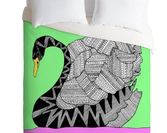 Aztec Swan Duvet Cover - Twin, King Queen Size Duvet - Swan Blanket - Swan Duvet - Kids Room Blanket - Swan Bedding