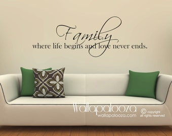 Family wall decal - Family Wall Art - Family Where Life Begins and Love Never Ends - Family Decor - Home decor - Wall Art Family