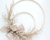 Embroidery Hoop Wreath - Silver Platinum Winter Holiday