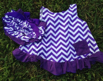 Purple and White Chevron Swing Top Set