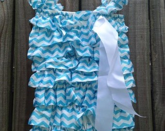 Blue Chevron Satin Romper