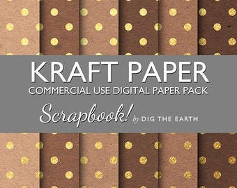 INSTANT DOWNLOAD Kraft Paper with Gold Polka Dots Digital Collage Sheets 12x12 inch Set of 6 Digital Papers Commercial Use Kit SDTE0037