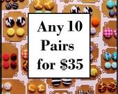 10 Button Earrings for 35 - Fabric Button Earrings -  Hypoallergenic Earrings - Stud earrings - Button Jewelry