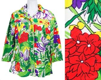 10 Dollar Sale---Vintage 70's JCPENNEY FASHIONS Colorful Floral Blouse Shirt L/XL