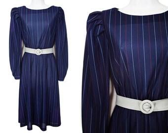 10 DOLLAR SALE---Vintage 80's Navy Red & Grey Striped Long Sleeved Puffy Shoulder Dress w/ Belt M
