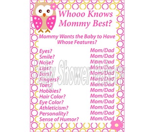 Pink Owl Theme Baby Shower Game, Who Knows Mommy Best, Girl Owl Baby Shower Printable Game, Owl Baby Shower Game for Girl, Instant Download