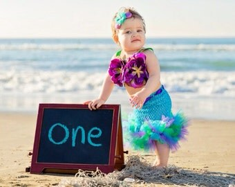 Mermaid Tutu, Little Mermaid, Mermaid Tail, Mermaid Costume, Ocean Theme, Beach Theme, Beach Birthday, Photography Prop, Baby Bikini, OOC