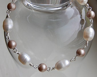 Silver and Pearl Bracelet, Wire Wrapped Sterling Silver and Fresh Water Pearl Bracelet