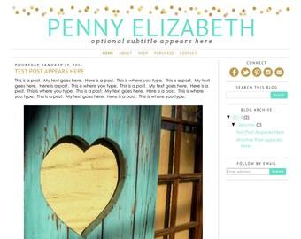 Blogger Template Premade Blog Design Theme - Penny Elizabeth - INSTALLATION INCLUDED - Responsive, Simple, Gold, Mint, Confetti, Glitter