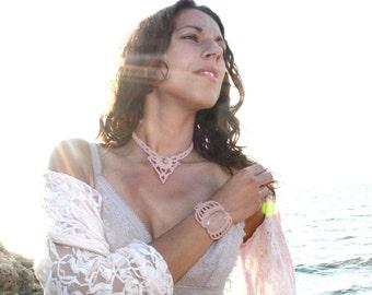 Macrame Bracelet White Quartz Gemstone Goddess jewelry Bride Wedding Romantic Victorian Boho Hippie Beach Summer Elf Fairy Pixie Pale Pink