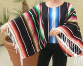 SERAPE OR PONCHO Made from Mexican Serape Cloth - Unisex, One Size, Striking Black with Fringe on sleeves