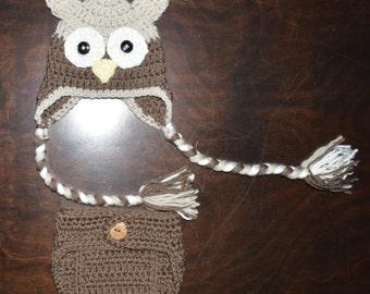Neutral Owl Handmade Custom Crochet Beanie Hat  & Diaper Cover Newborn Baby Photo Prop