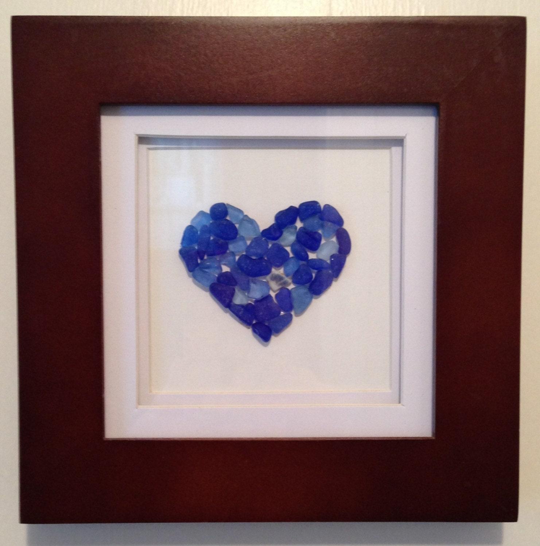 Cobalt Blue Sea Glass Heart Shadow Box