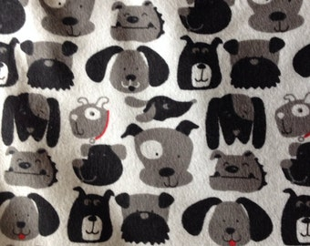 FLANNEL - Dog Fabric - Black, Grey, and White Dogs