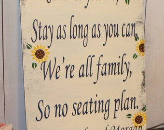 "Wedding signs/ Reception/Seating Plan/Sunflowers/ ""Come as you are, Stay as long as you Can, We're all family, So no seating plan"