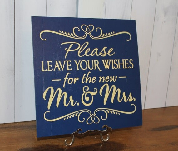 Guest Book/Please Leave Your Wishes For the New MR and MRS/Wedding Sign/Photo Prop/U Pick Color/Great Shower Gift/Vineyard/Blue/Yellow