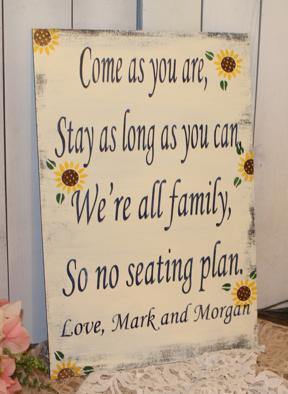 Wedding signs/ Reception/Seating Plan/Sunflowers/ Come