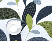 Tablecloth white grey green black leaves Modern Scandinavian Design ,also napkins , runners , curtains available, great GIFT